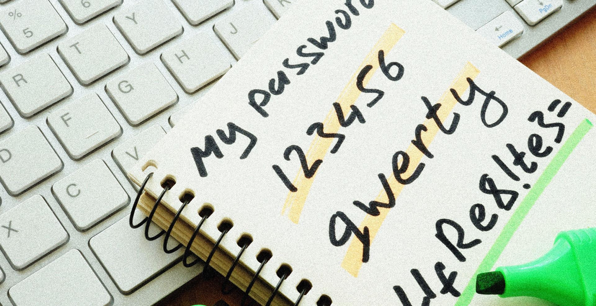 passwords written in notebook