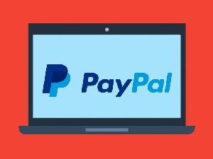 PayPal logo on computer screen