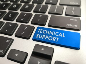 Blue computer key that reads technical support