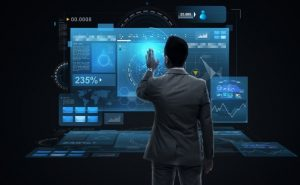 Concept image for big data with man in suit using large touchscreen